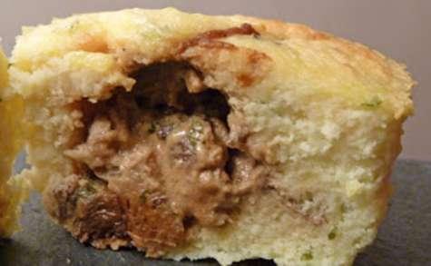 Muffins de pommes de terre, coulants aux champignons