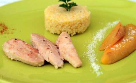Emincés de poulet, mangues pimentées et lait de coco