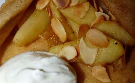 crêpes fourrées pommes miel amandes