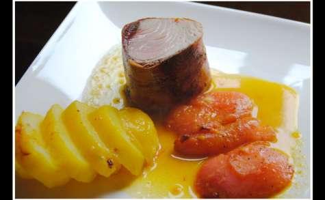 Thon blanc rôti, tomates semi confites, pommes de terre aux pistils de safran