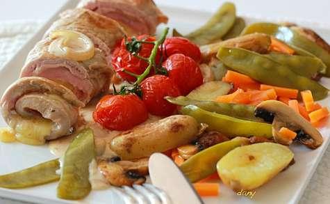 Saltimbocca de veau à l'emmental et petits légumes