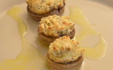 Champignons farcis au fromage frais et basilic, sauce citronnée