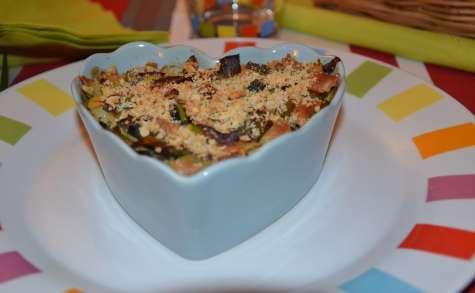 Gratin de ravioles, poireaux et saumon fumé