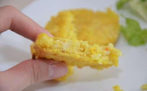 Galettes de riz rond et lentilles corail au curcuma et émmental