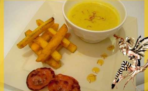 Soupe de navet boule d'or frites de polenta et chips chorizo