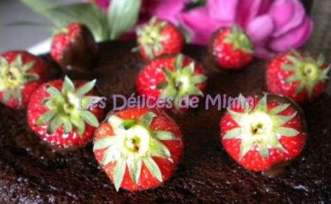 Fondant au chocolat et ses fraises chocolatées