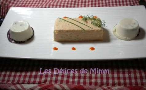 Terrine de saumon, nougats de Saint-Jacques et gaspacho aux poivrons