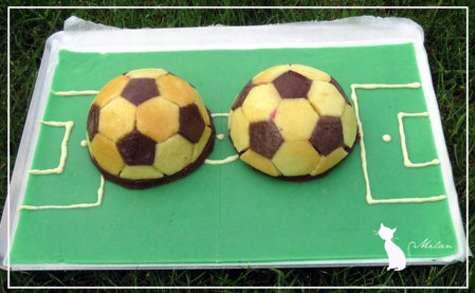 Gâteau d'anniversaire terrain de foot citron-framboise