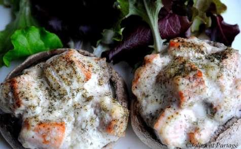 Champignons farcis au saumon et à l'aneth