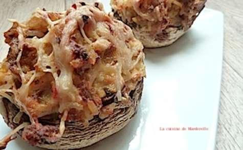Champignons farcis thon et pesto rouge