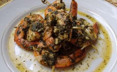 Papillotes de crevettes à l'ail et au gingembre