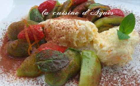 mousse d'orange et salade de kiwis à la menthe chocolat