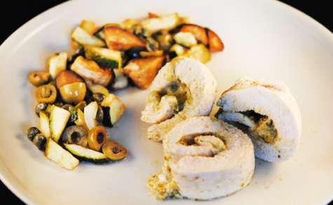 Ballotines de poulet au pesto et petits légumes façon caponata