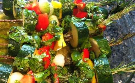 Brochettes de légumes au romarin
