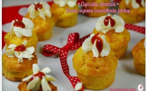 Cupcakes America: bacon, oignon croustillant, ketchup