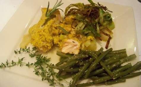 papillote de saumon et poireaux au curry et gingembre