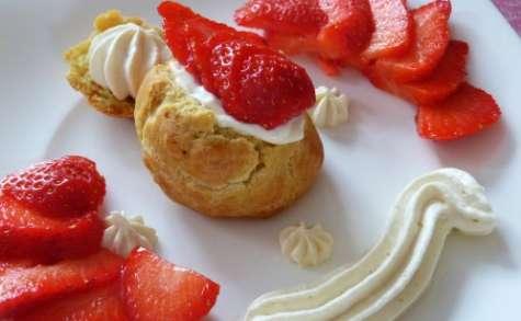 Choux à la crème mascarpone à la verveine et fraises