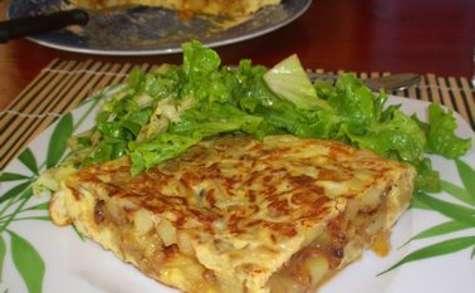 Omelette oignons / pommes de terre