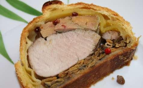 Filet mignon feuilleté au foie gras et chanterelles