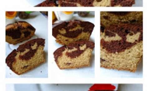 Cake marbré au chocolat et à la pâte à speculoos.