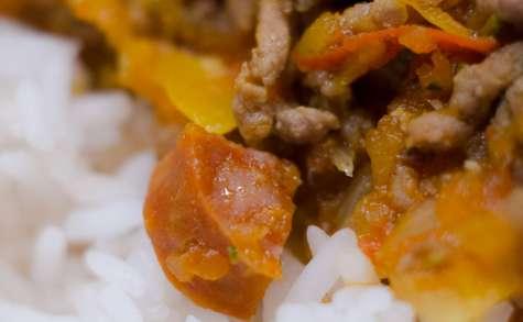 Riz et poivrons à la bolognaise de chorizo
