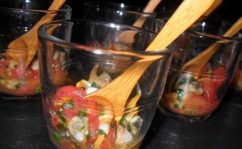 verrines de coques à la vinaigrette de mangue
