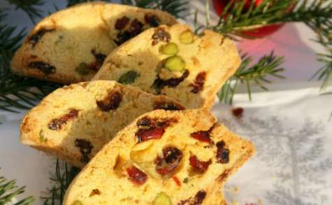 Biscottis pistaches et cranberries