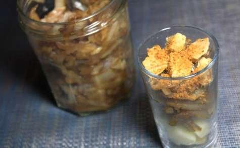 Verrine pommes, confit d'oignon et foie gras
