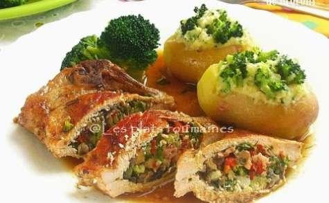 Côtelettes de porc farcies au ragoût de brocolis