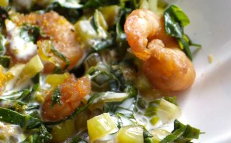 Wok de chou Pak-Choï et crevettes