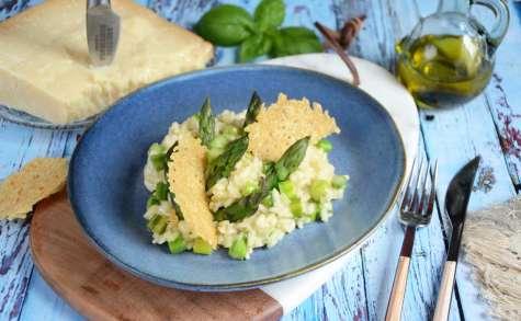Risotto aux asperges, tuile au parmesan
