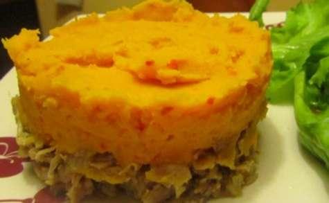Parmentier de patates douces et carottes avec les restes de dinde