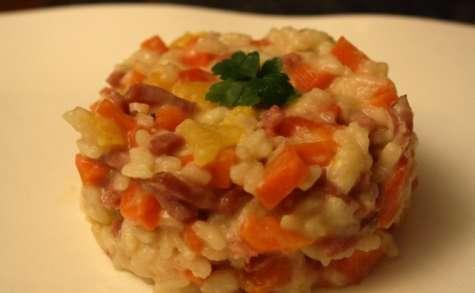Risotto aux bacon et petits légumes