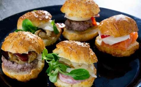 Mini burgers variés aux buns maison