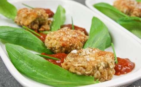 Bouchées de jeunes poireaux panés à la noisette, sauce tomate relevée