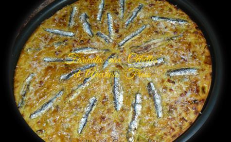Farinata aux cébettes et anchois frais