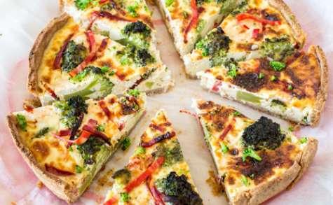 Tarte brocoli, chèvre frais et chorizo, pâte à la noisette