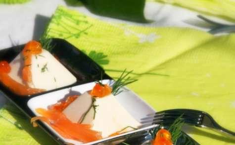 Bouchée bavaroise à la truite fumée, oeufs de saumon et aneth