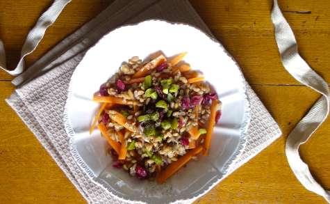 Salade d'épeautre, carotte, olive et cranberries, sauce à l'orange