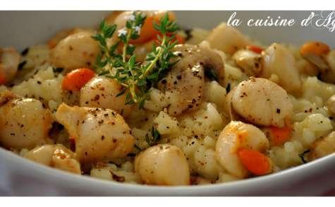 risotto aux champignons et au noix de pétoncles