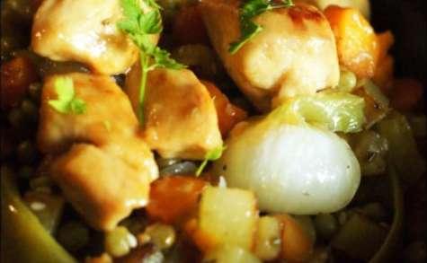 Légumes de printemps et poulet au miel
