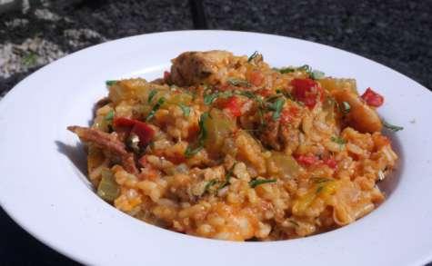 Jambalaya poulet, crevettes & chorizo