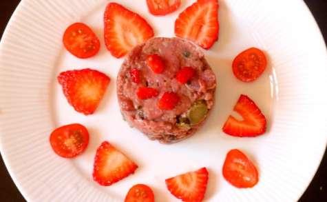 Tartare de canard au chutney de fraises