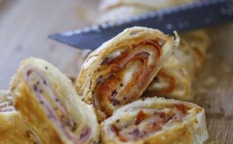 Feuilleté jambon chorizo et comté au pavot