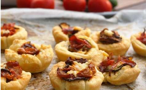 Tartelettes au chavignol tomates et courgettes roties