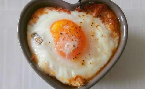 Oeufs cocotte aux légumes du soleil, mozzarella (ou restes de ratatouille)