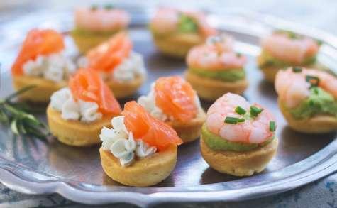 Bouchées apéritives saumon fromage, ou crevette avocat