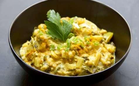 Curry de blettes et tomates vertes au sarrasin et lait de coco