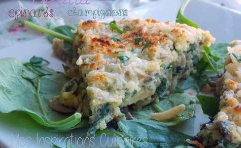 Tortilla aux epinards et champignons