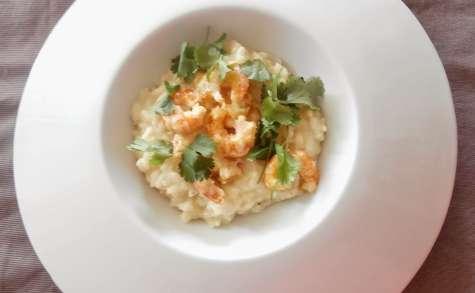 Risotto aux crevettes, curry, lait de coco et coriandre